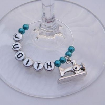 Sewing Machine Personalised Wine Glass Charm